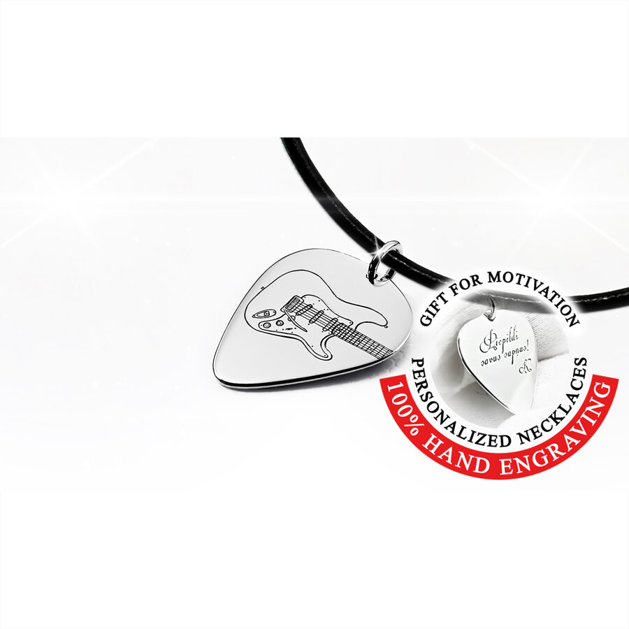 Personalizēta kaklarota, mediators Fender Stratocaster elektriskā ģitāra