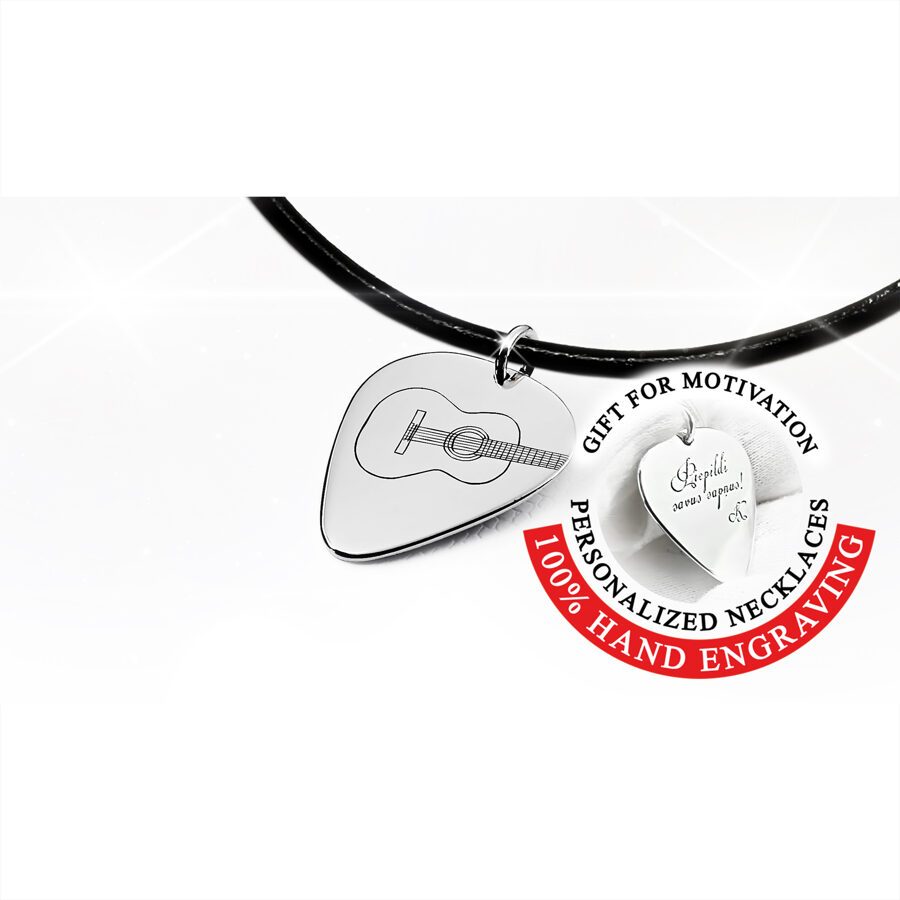 Engraved flamenco guitar pick necklace in gold or silver