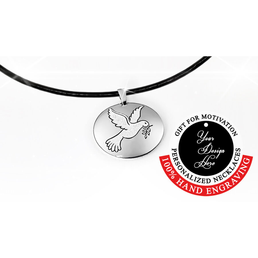 Engraved dove of peace necklace – can be personalized