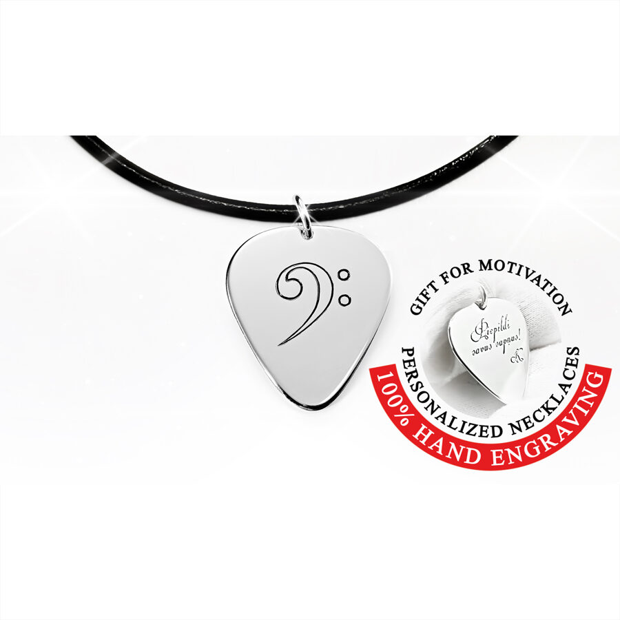 Engraved silver or gold bass clef guitar pick necklace