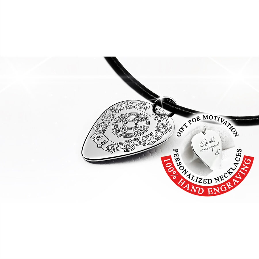 Iegravēts ķeltu raksts, personalizēts mediators kaklarota