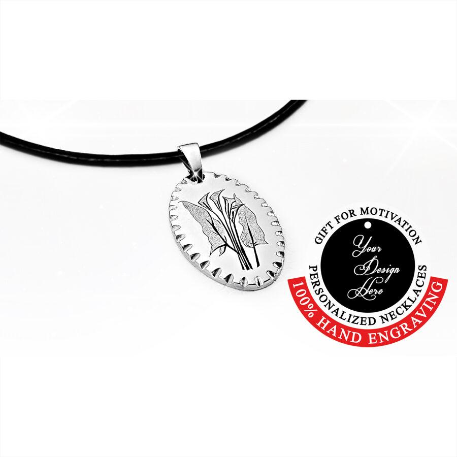 Kallu pušķis, gravēta personalizēta kaklarota dāvana sievietei