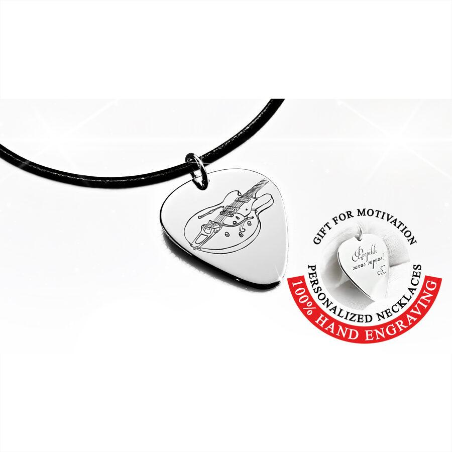 Iegravēta Gretsch elektriskā ģitāra – Mediators kaklarota