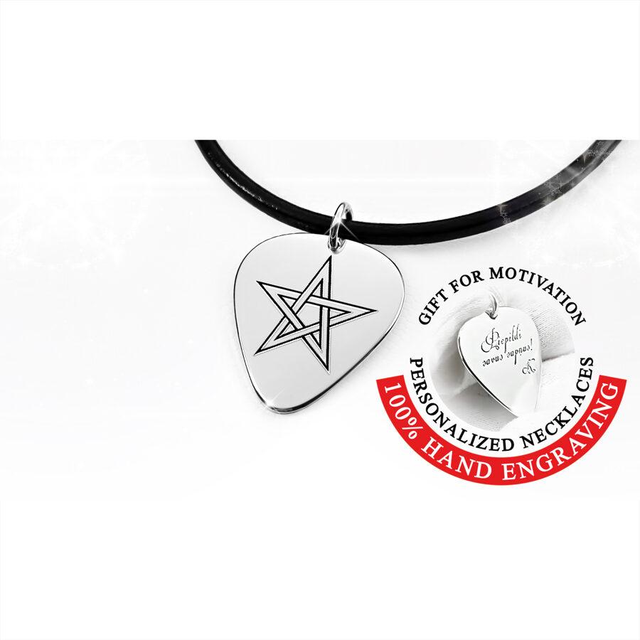 Mediators kaklarota no sudraba vai zelta ar gravētu pentagrammu