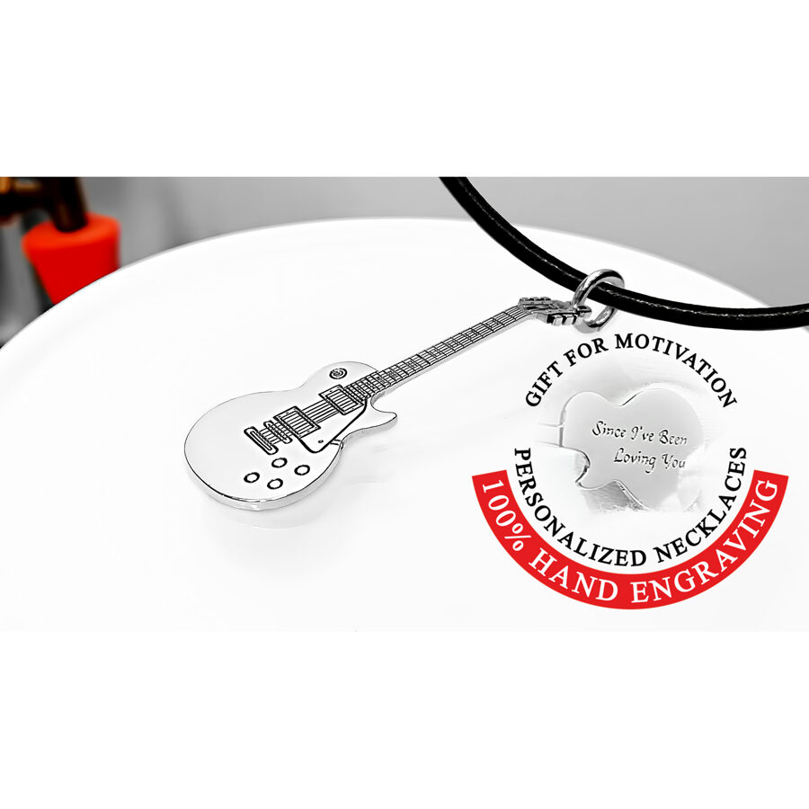 Personalized Gibson Les Paul guitar necklace - gift for guitarist