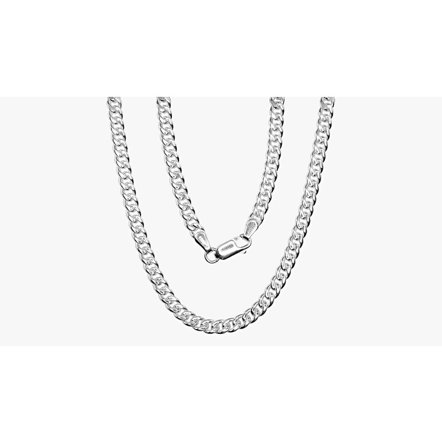 Silver chain for men, Width 4mm, Chain type Curb