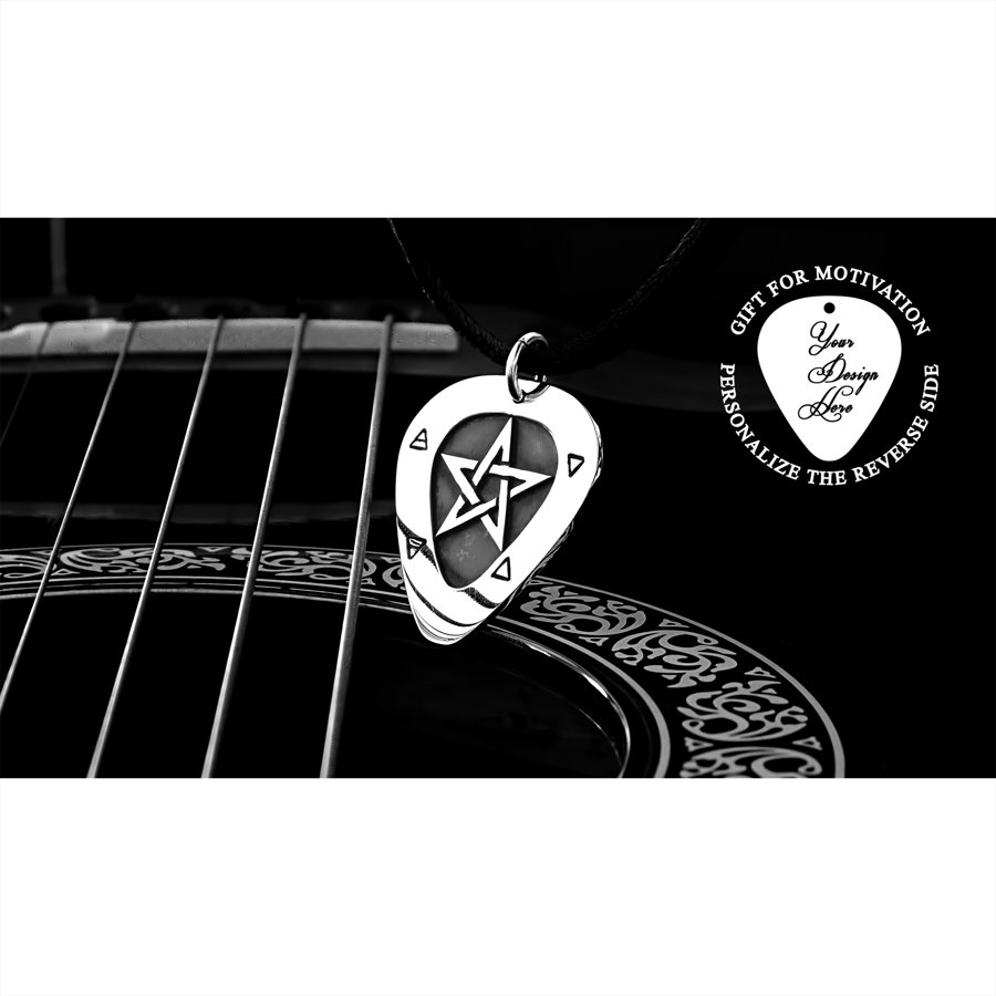 Silver or gold pentagram, personalized guitar pick necklace