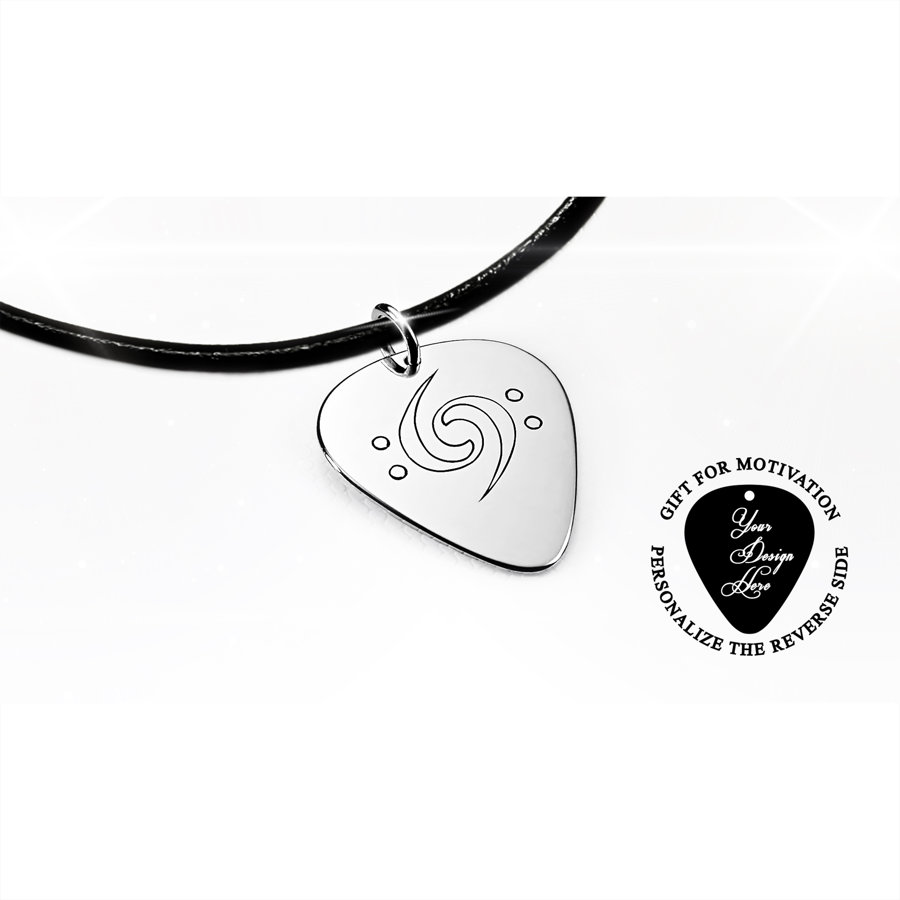 Engraved bass clefs silver or gold guitar pick necklace