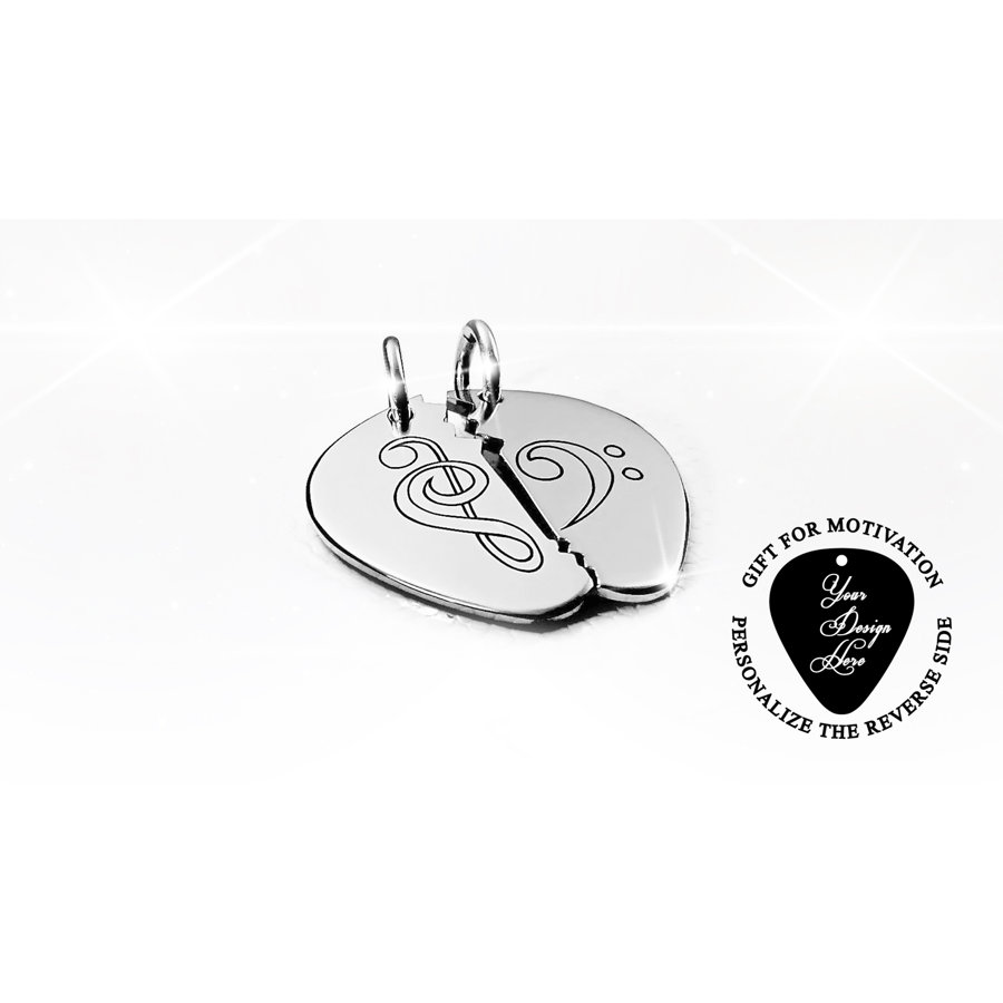 Engraved Broken Music Heart guitar pick necklace for couple