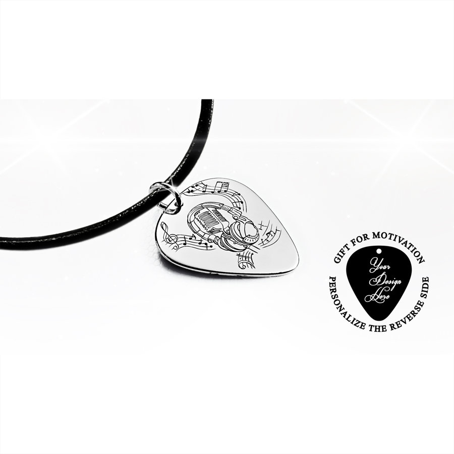 Microphone, headphones, and music notes guitar pick necklace