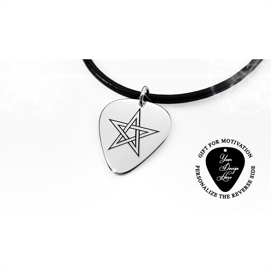 Silver or gold guitar pick necklace with pentagram