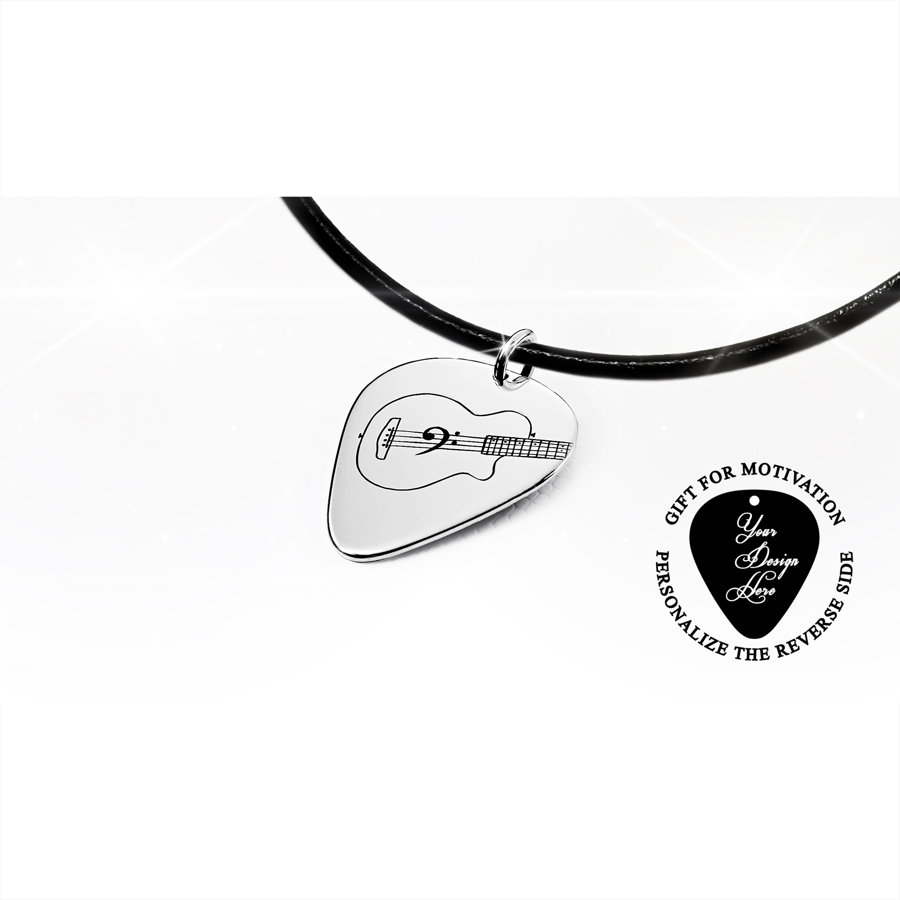 Acoustic bass guitar pick necklace in gold or silver