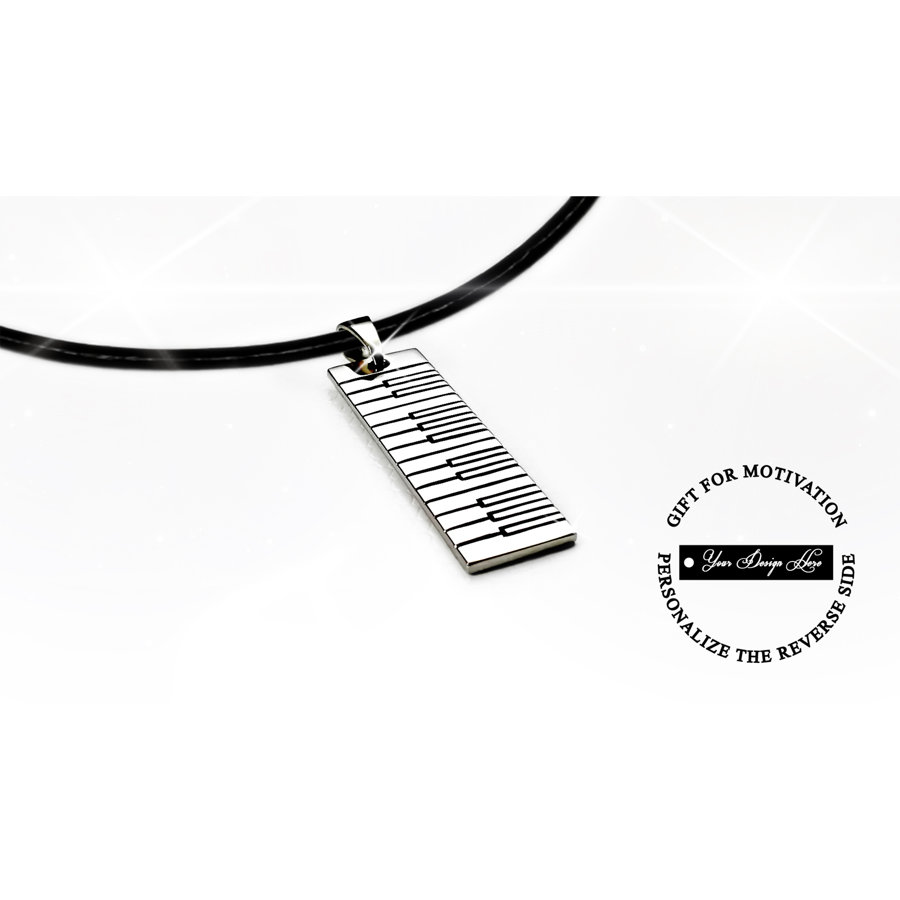 Piano keyboard necklace in gold or silver, personalized gift