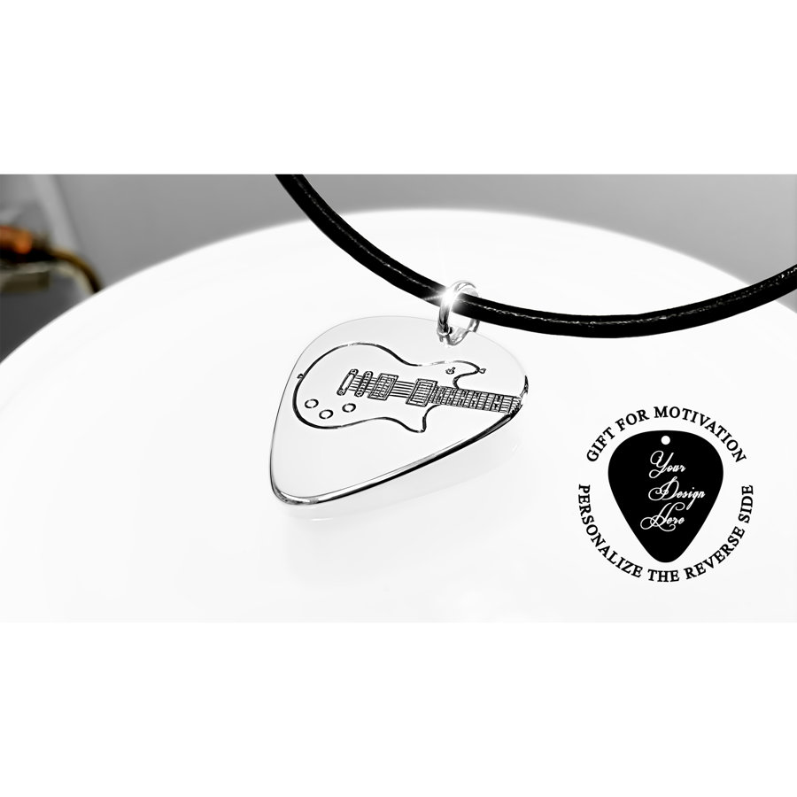 Personalized, engraved Schecter electric guitar pick necklace