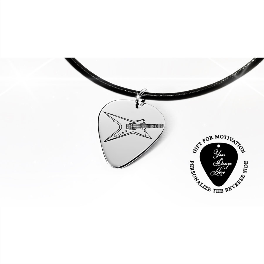 Guitar pick necklace with engraved Washburn electric guitar