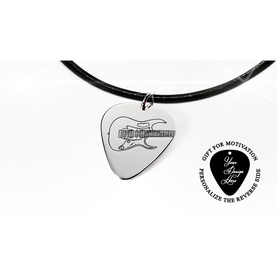 Personalized, engraved Ibanez electric guitar pick necklace