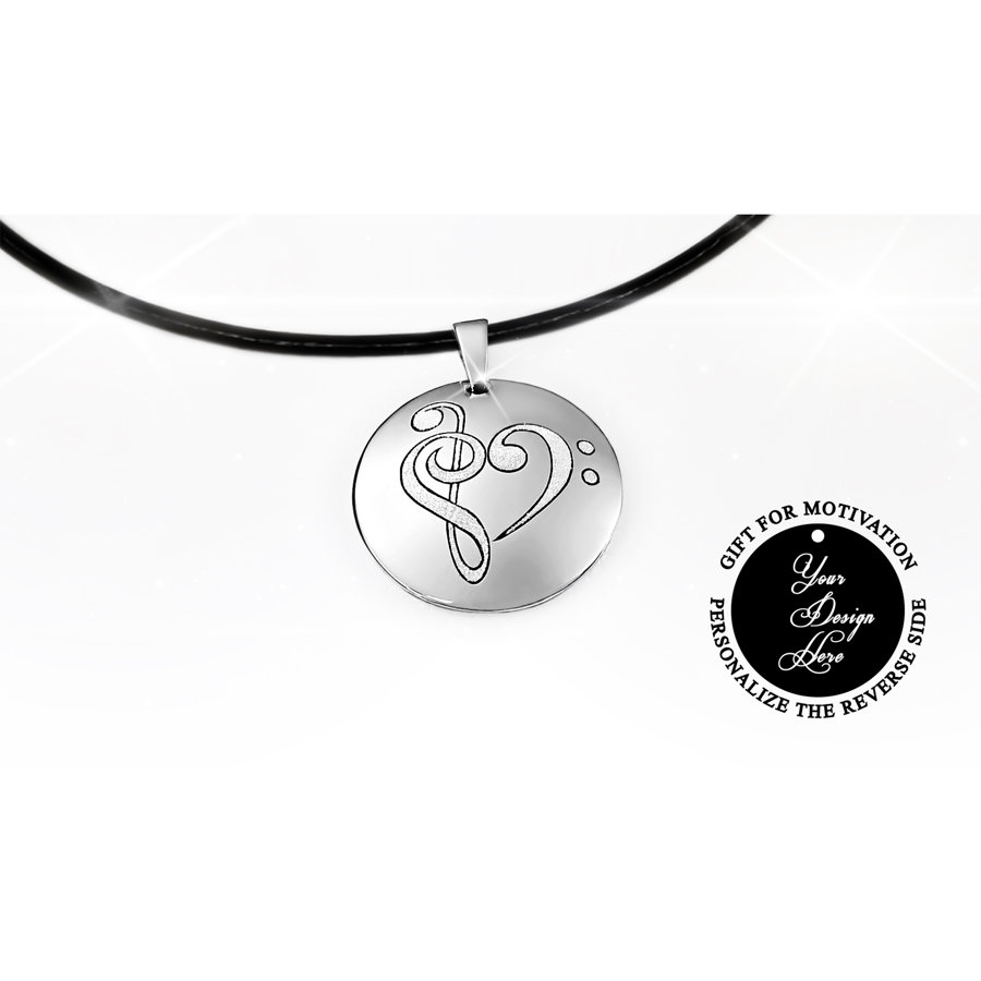 Engraved music heart necklace – can be personalized