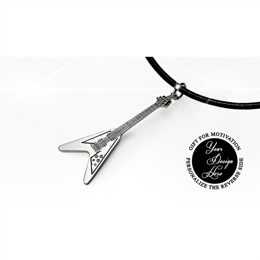 Personalized, engraved Gibson Flying V electric guitar necklace