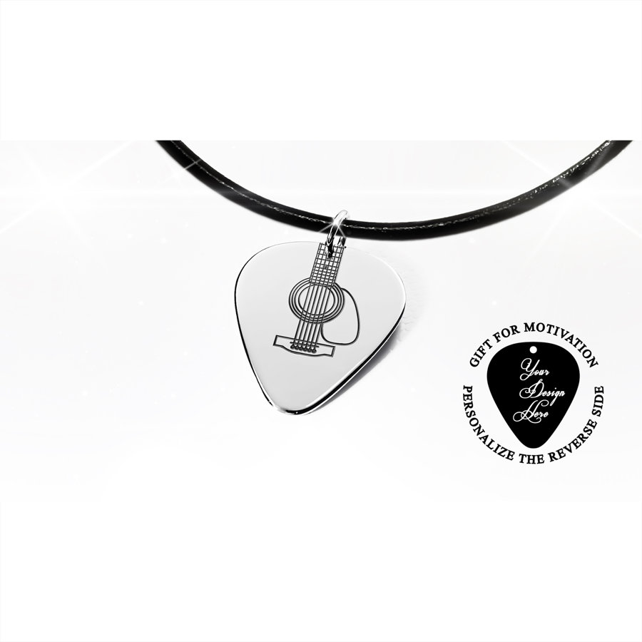 Silver or gold Guitar pick necklace, engraved guitar strings