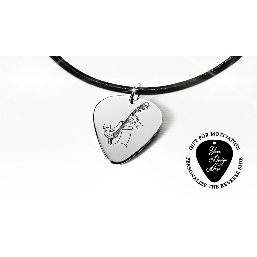 Classical acoustic guitar pick necklace
