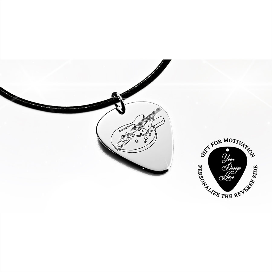 Personalized, engraved Gretsch electric guitar pick necklace
