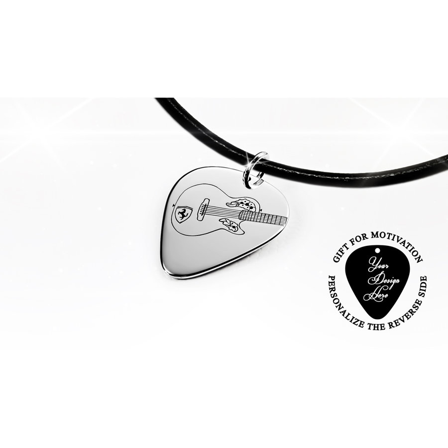 Guitar pick necklace with Ovation acoustic guitar