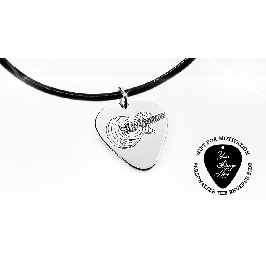 Guitar pick necklace Gibson Les Paul electric guitar with stripes