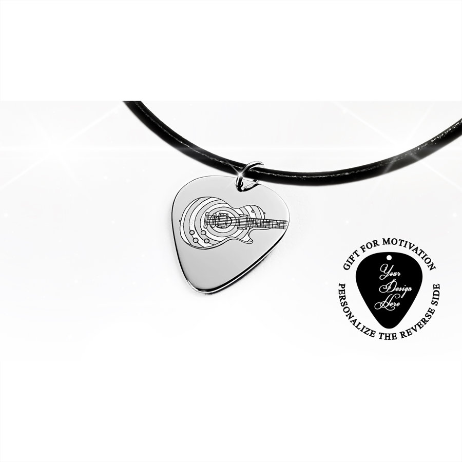 Guitar pick necklace Gibson Les Paul guitar with matte stripes