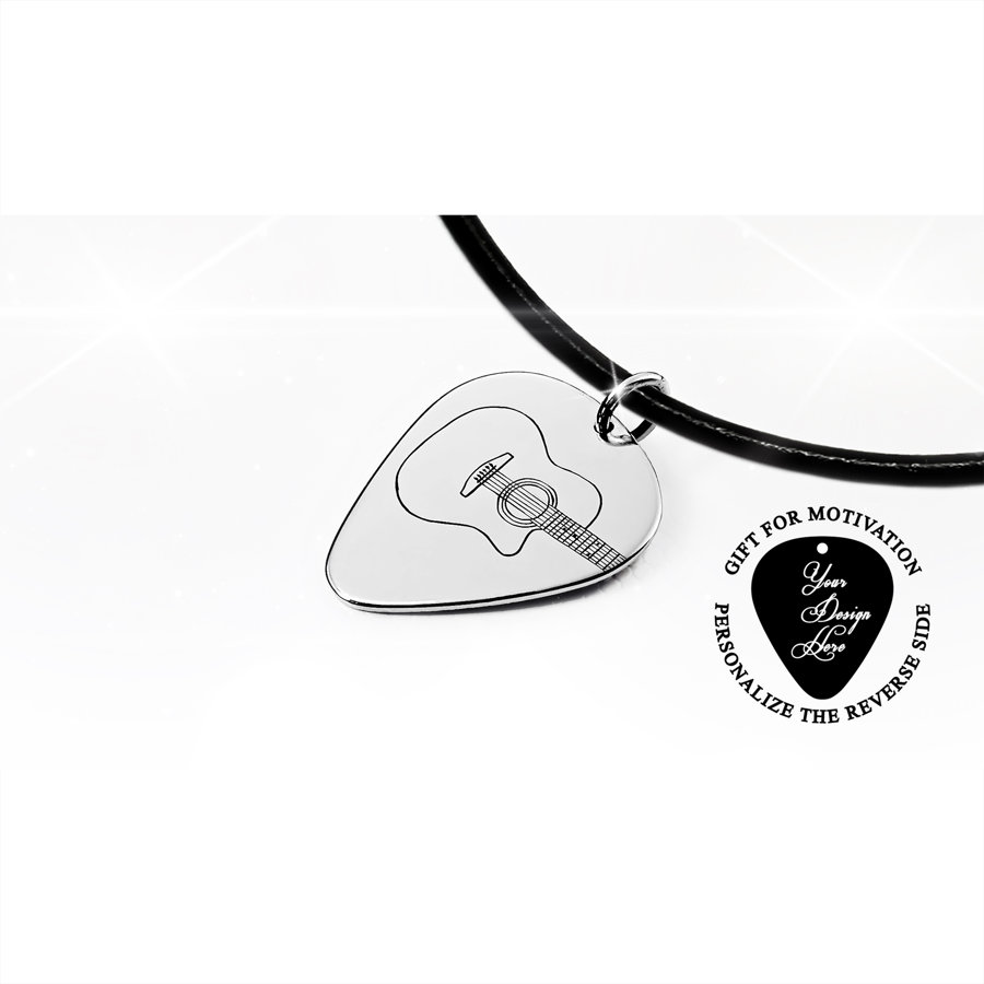 Engraved acoustic guitar pick necklace iz gold or silver