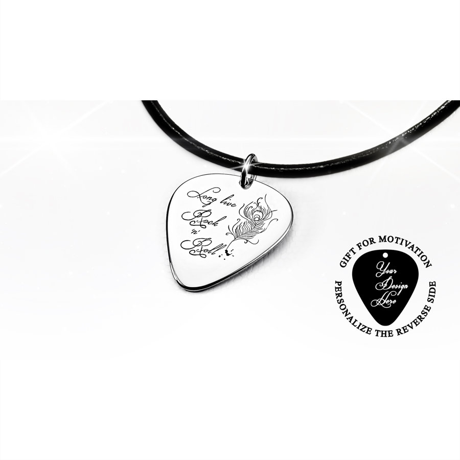 Engraved Long Live Rock 'n' Roll guitar pick necklace