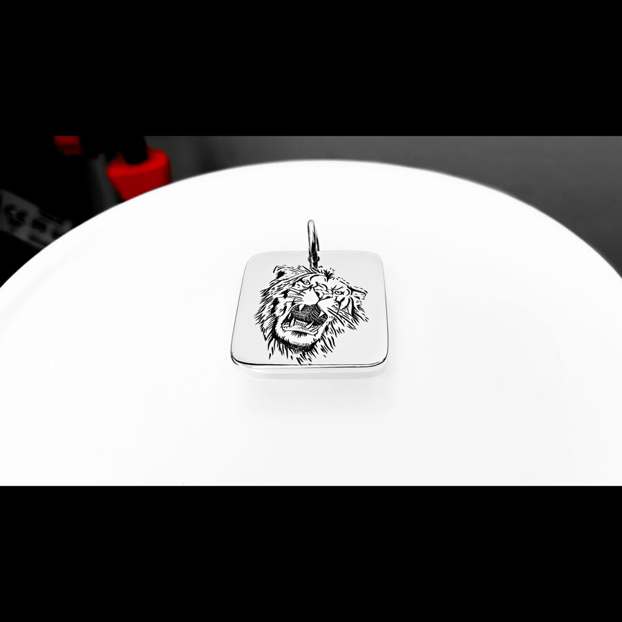 Lion jewelry, Custom engraved necklace, Lion head necklace