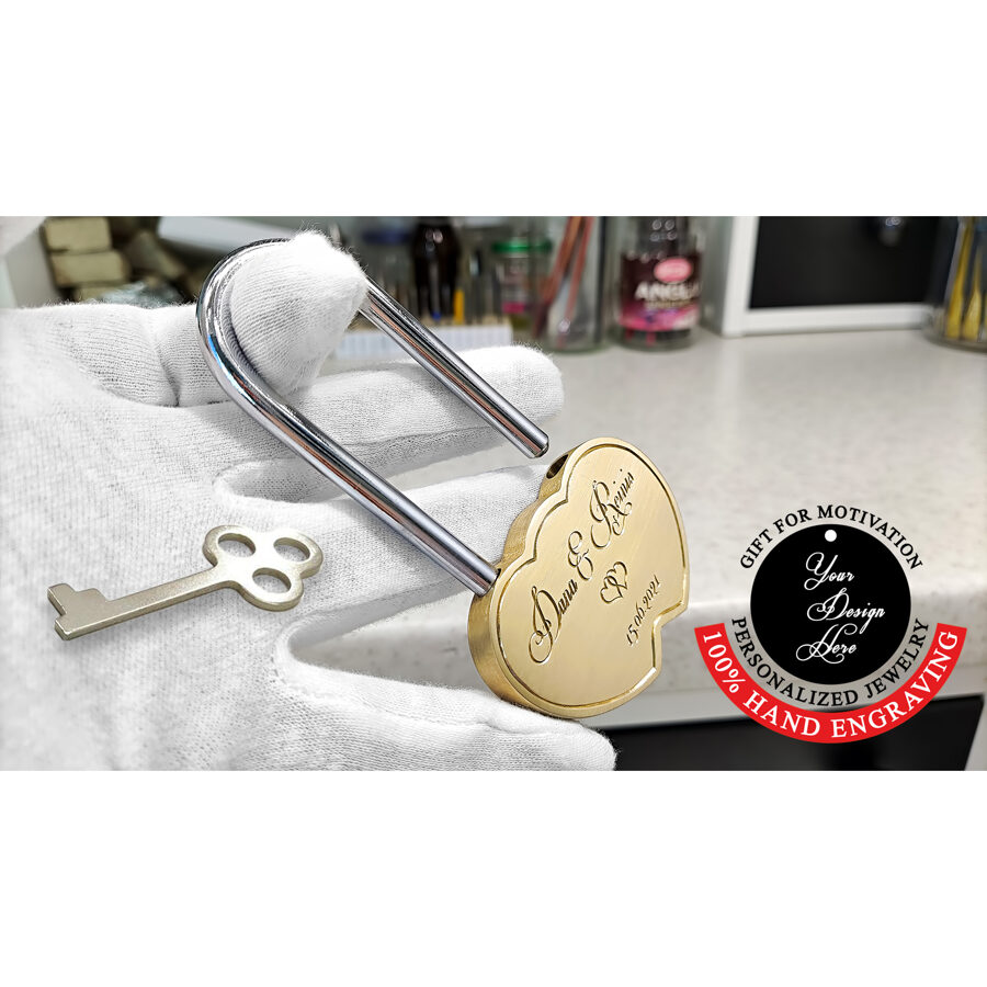 Engraved love locks, love padlocks, heart shaped wedding padlock