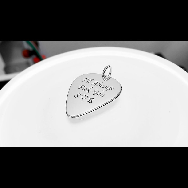 Guitar pick necklace with engraved Gretsch bass guitar