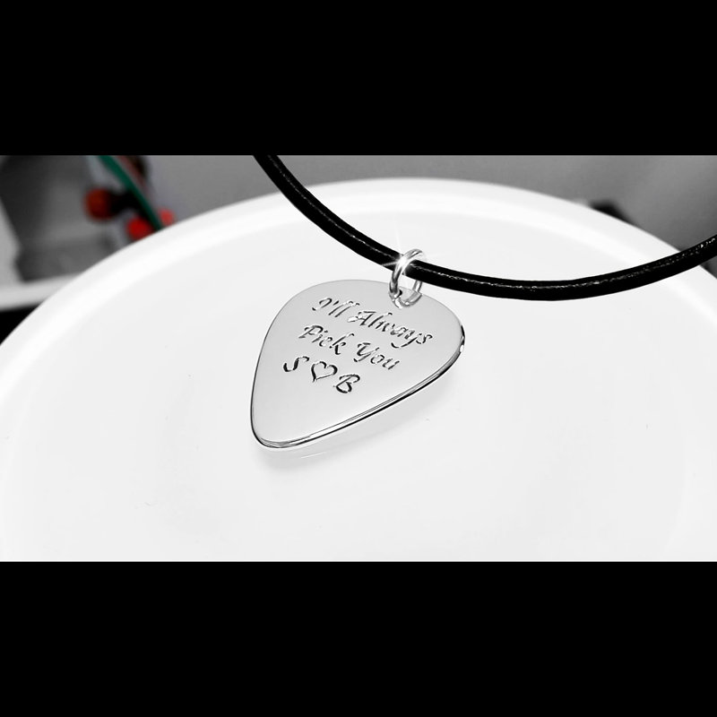 Tenson bass electric guitar pick necklace in gold or silver