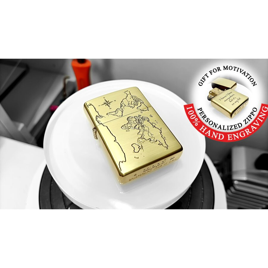 Custom hand engraved Zippo lighter, world map, compass