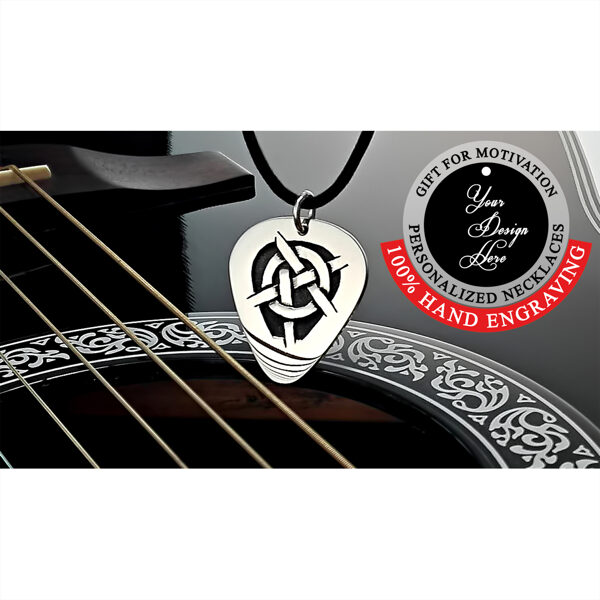 Anarchy sign, symbol, personalized guitar pick necklace