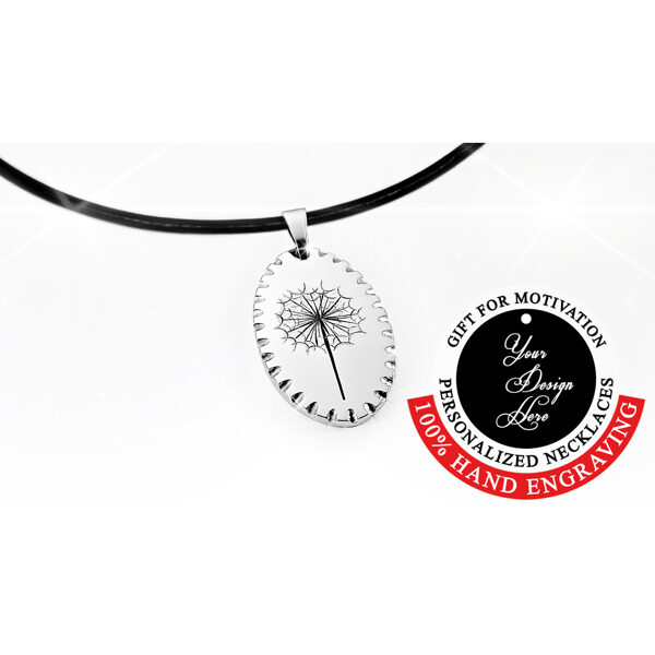 Engraved dandelion necklace – can be personalized