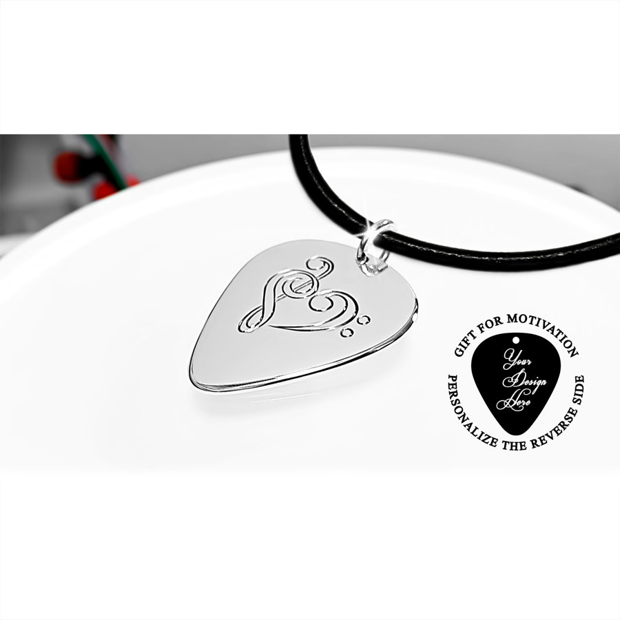 Guitar pick necklace with heart - personalized I love you gift