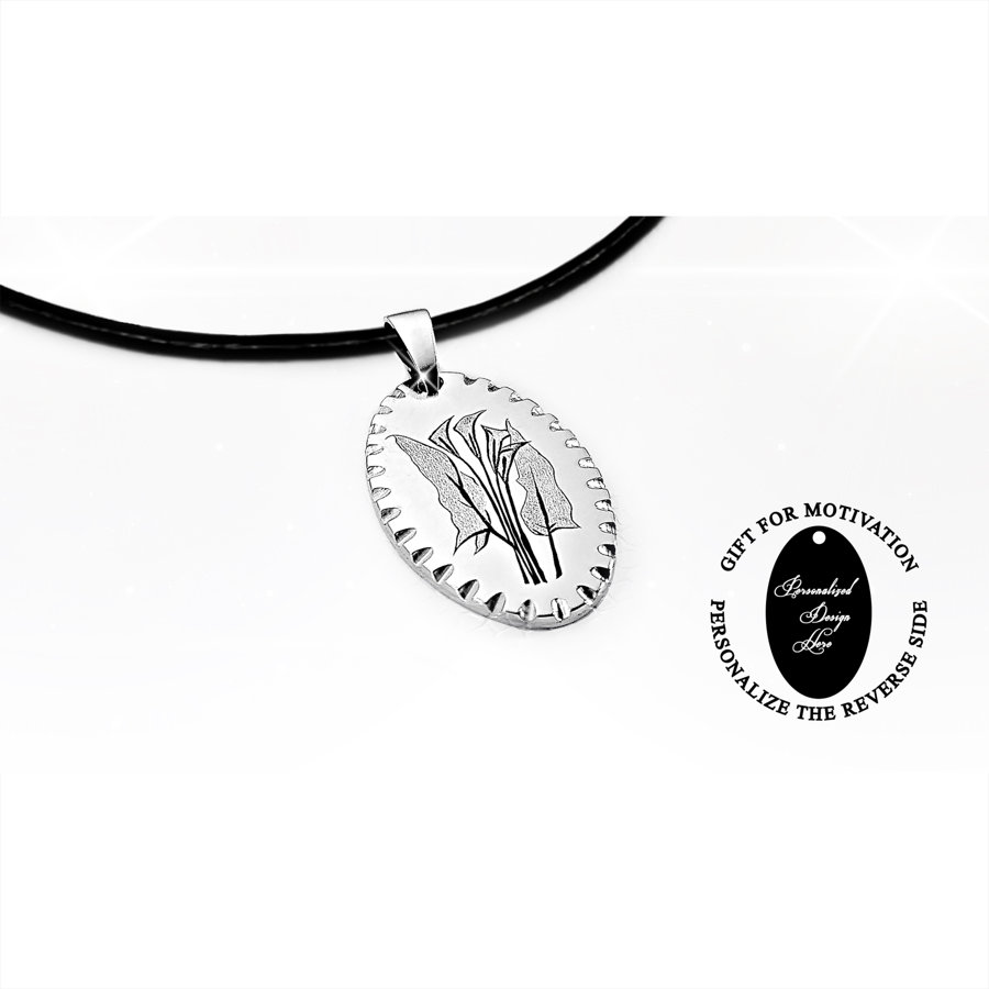 Engraved calla lilies necklace – can be personalized