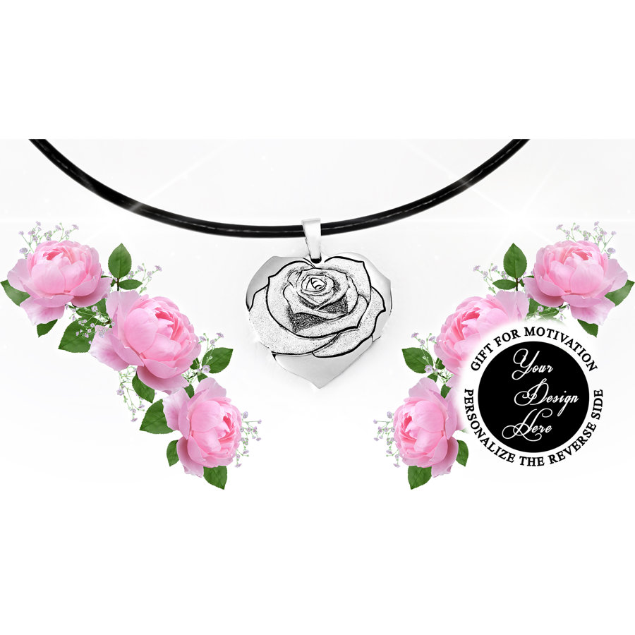Engraved heart rose necklace, personalized gift