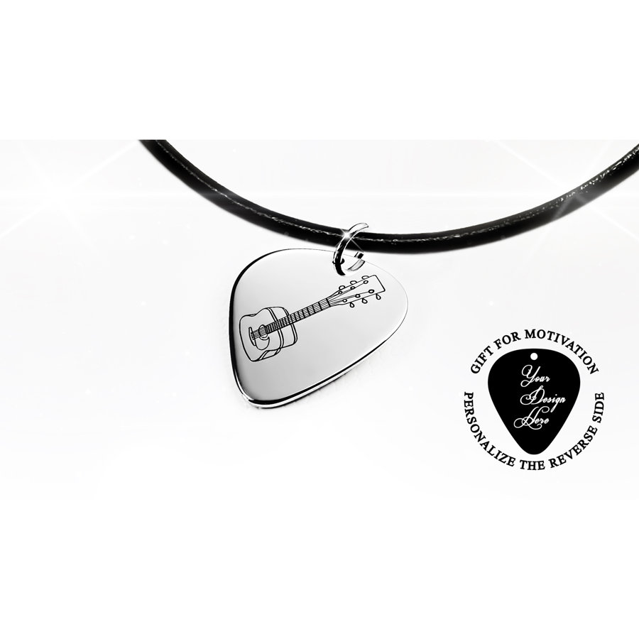 Guitar pick necklace with engraved acoustic guitar
