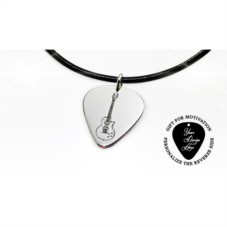 Gibson Les Paul guitar pick necklace in silver or gold