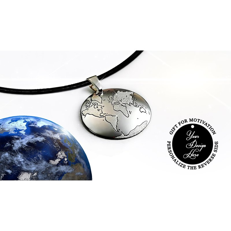 Persoanlized traveler world map talisman necklace for good luck