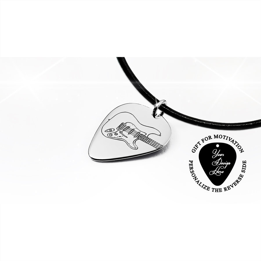 Fender Stratocaster electric guitar pick necklace
