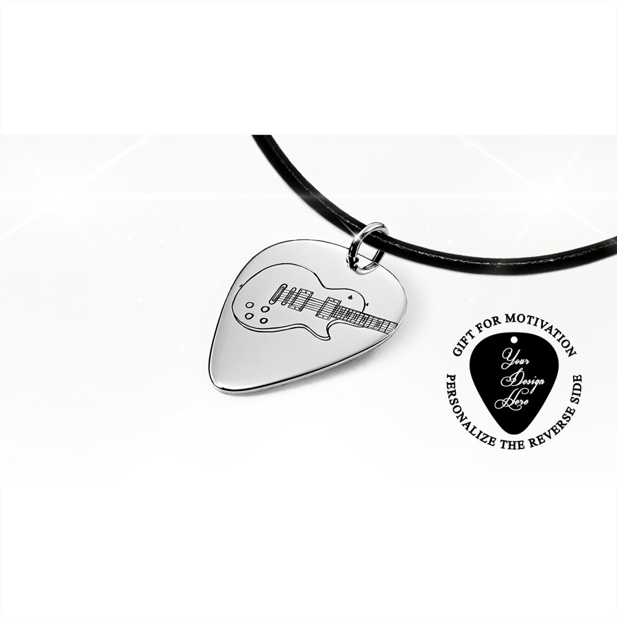 Personalized Gibson Les Paul electric guitar pick necklace