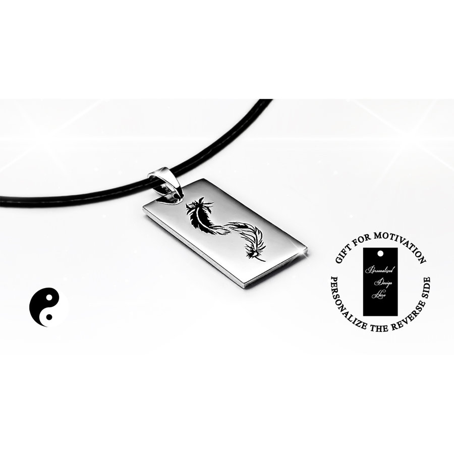 Engraved necklace with yin yang feather, personalized gift