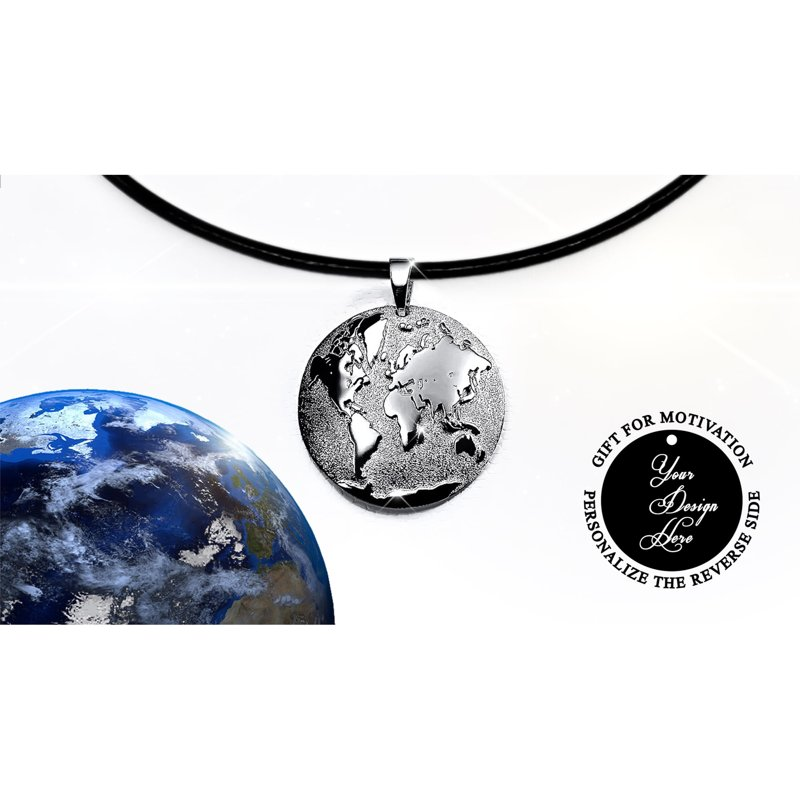 Silver or gold world map necklace 3D, romantic gift for travel lovers