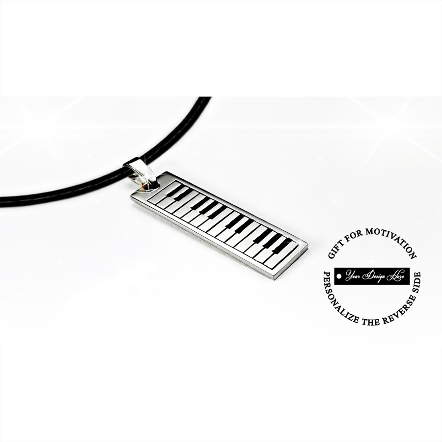 Piano keyboard necklace in gold or silver, can be personalized