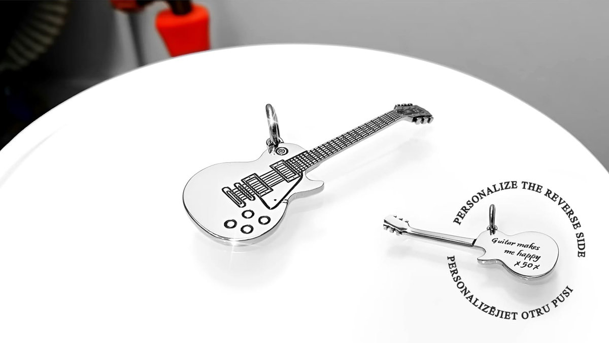 Personalized 925 silver guitar necklace for gift