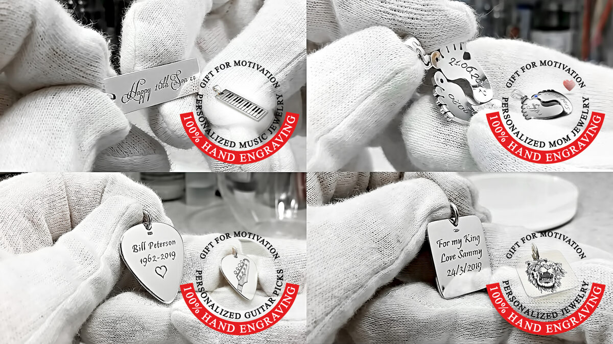 Personalised engraved silver necklaces and pendants